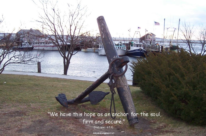 Photo of anchor in Plymouth Harbor