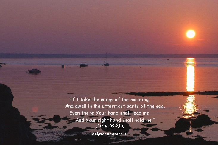 Photo of ocean sunset with Scripture
