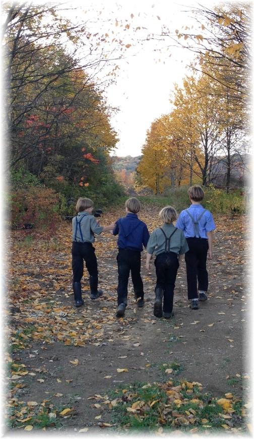 Amish boys on hike