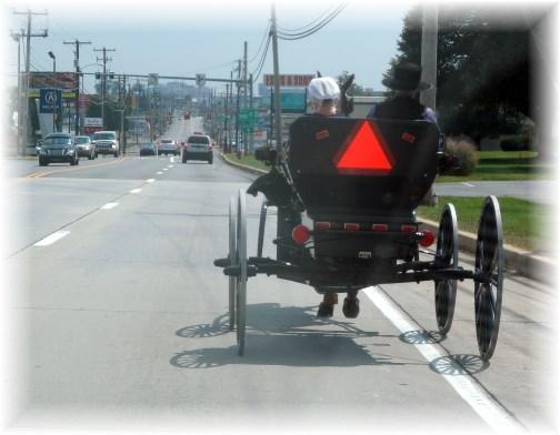 Amish buggy heading into city 9/8/13