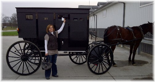 Pam with Amish buggy in Indiana