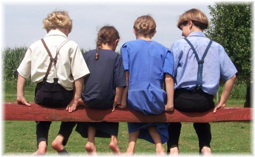 Amish children sitting on fence rail (Photo by Ester Weber) 8/29/13