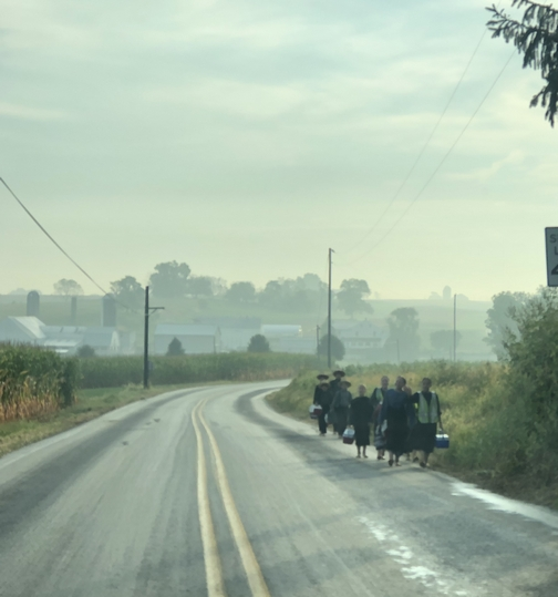 Amish children walking to school, Lancaster County, PA 9/12/19