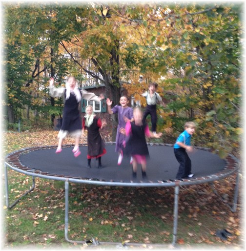 Amish children jumping on trampoline 10/18/14