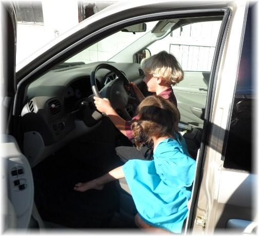 Children in van