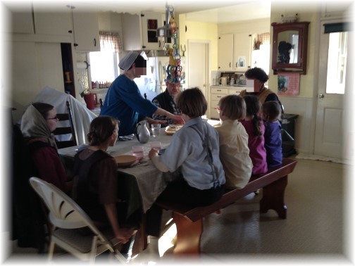 Amish family at dinner 2/25/15