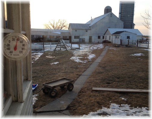 View of barn from Lapp farmhouse 2/25/15
