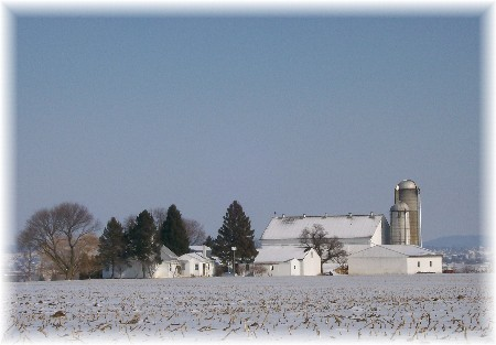 Amish farm in snow