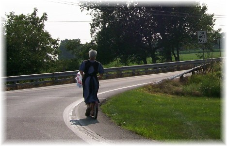 Amish girl on scooter