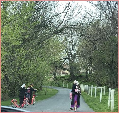 Amish girls on farm lane 4/18/19