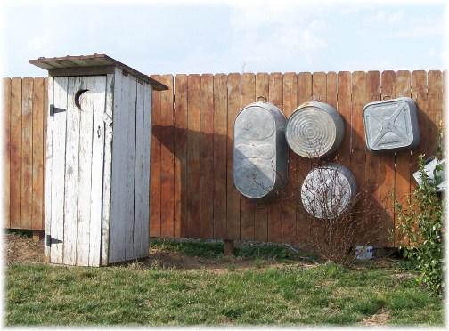 Amish outhouse and wash basins
