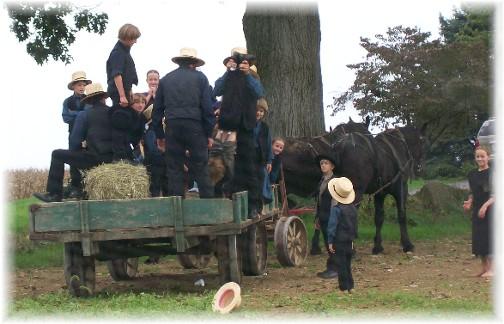 Amish watching parachutes from wagon 9/25/11