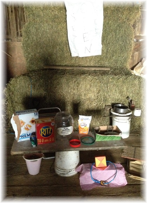 Amish children play store in barn 6/3/15