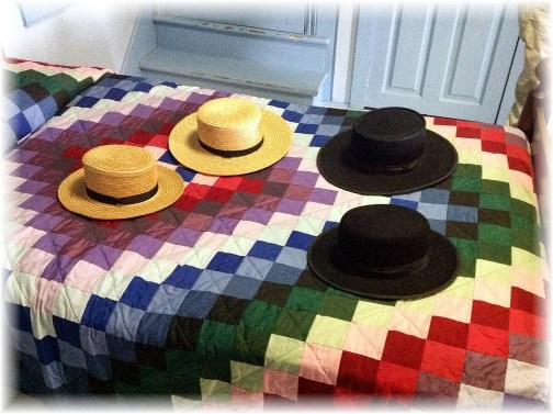 Amish quilt with hats