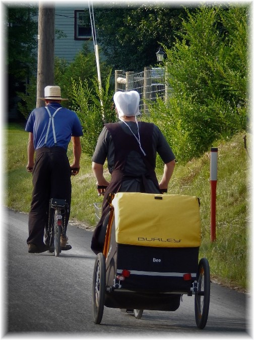 Amish scooters with baby trailer, Lancaster County, PA 6/9/18