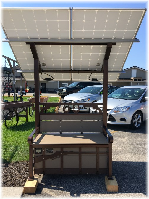 Amish solar power canopy and bench 8/4/16