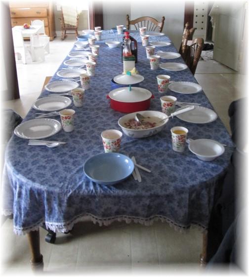 Amish breakfast table, NY 3/22/14
