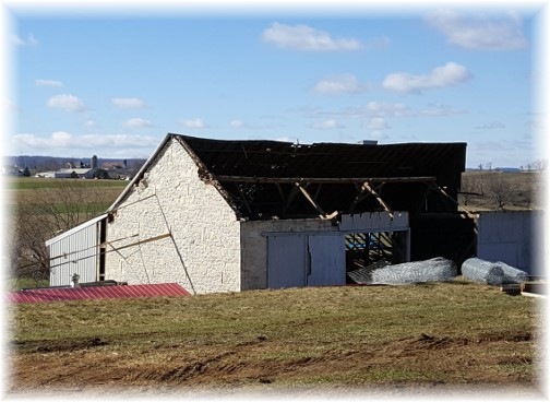 Amish barn roof torn off near White Horse, PA following tornado 3/2/16