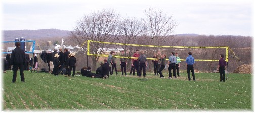 Amish youth playing volleyball at the Penryn Mud Sale 3/19/11 3/18/11