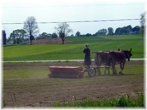 Amish woman farming in Lancaster County PA (photo by Nick Nichols)