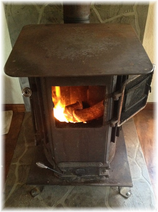 Wood stove in New York cabin 10/18/14