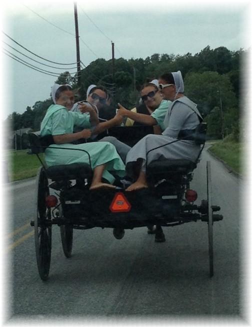 Amish girls on way to youth gathering 6/7/15