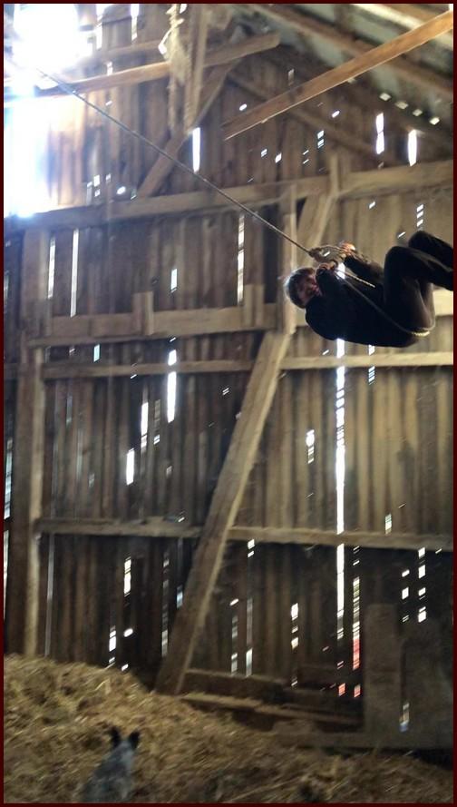 Eli on swing in Amish barn 1/6/19