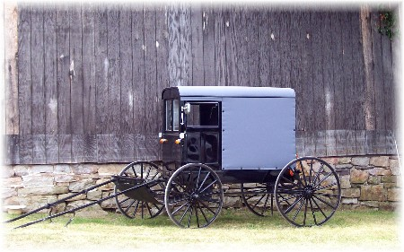 Amish buggie showroom at Amish sale in Perry County PA