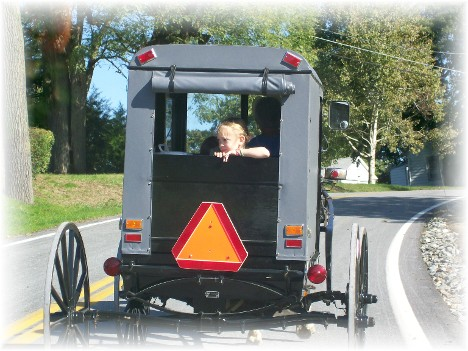Amish buggie with child. Meadow View Road, Lancaster County PA
