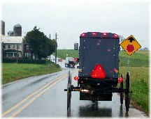 Amish buggy on rainy day in Lancaster County, PA 10/27/11