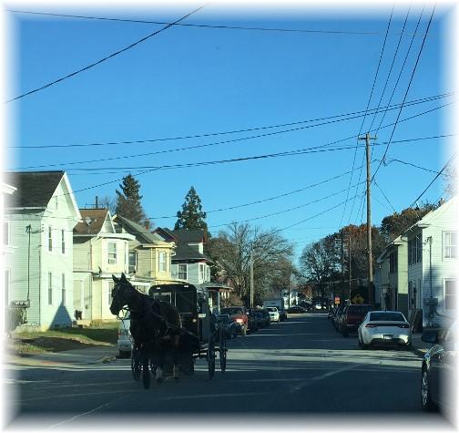 Amish church traffic through Mount Joy, PA 11/26/17