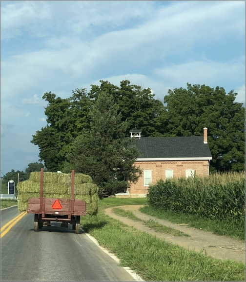 Hay wagon and school (Click to enlarge)