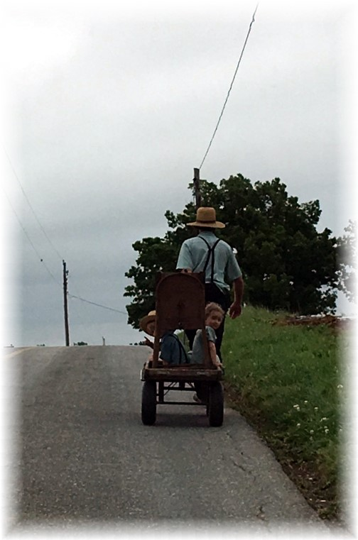 Amish dad with children, Lancaster County, PA 6/3/16