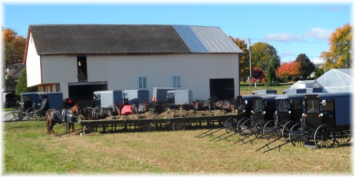Amish service parking lot on Kraybill Church Road 11/3/13