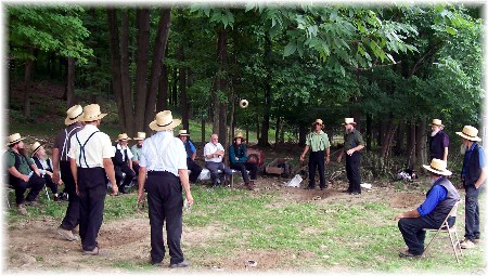 Amish playing quoits