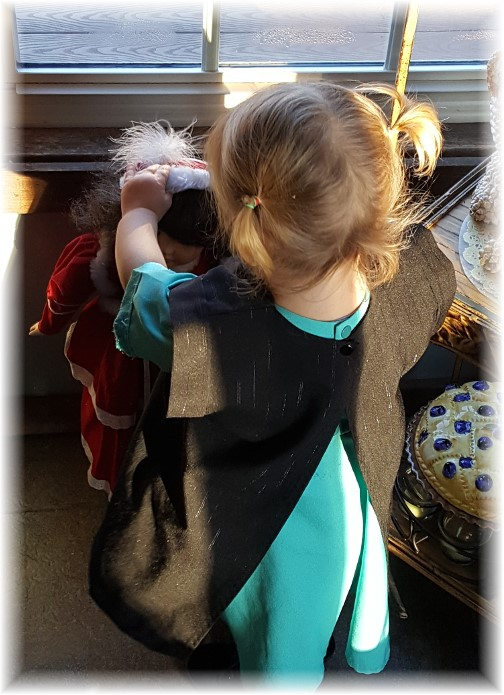 Sarah Beth playing with doll 12/25/16
