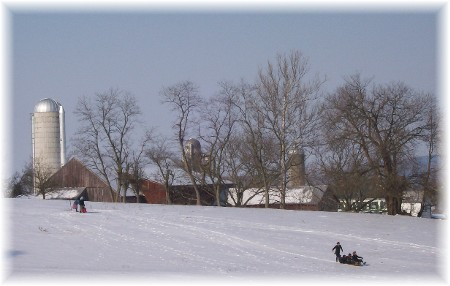 Sledding on an Amish farm