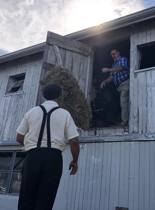 Throwing hay from barn loft, Old Windmill Farm 9/16/18