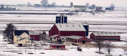 Amish farmstead winter scene
