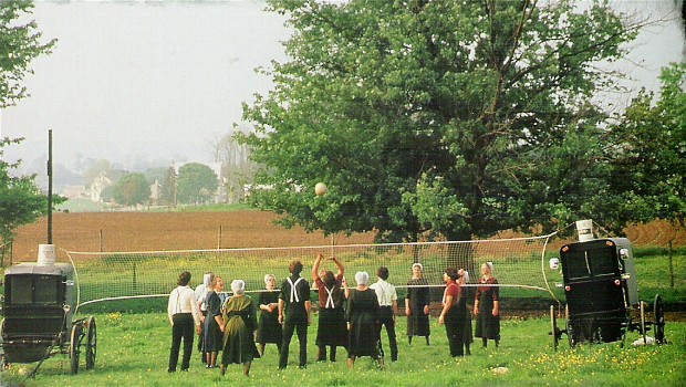 Amish youth playing volleyball