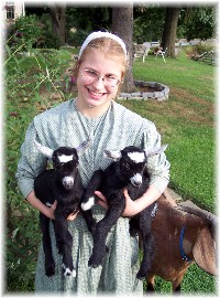 Becky with goats