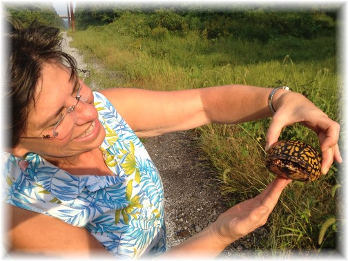 Brooksyne with turtle along Low Grade trail 8/30/15