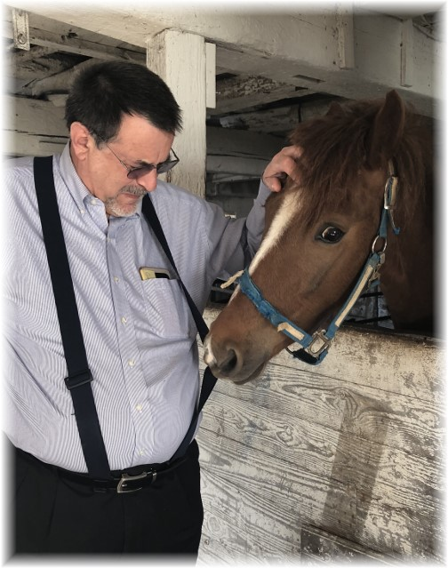 Stephen with curious horse on the Old Windmill Farm 4/1/18