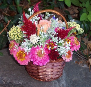 Photo of basket flower arrangement