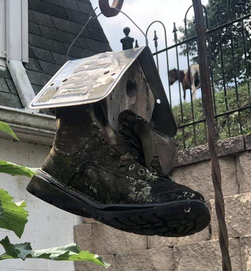 Work boot birdhouse
