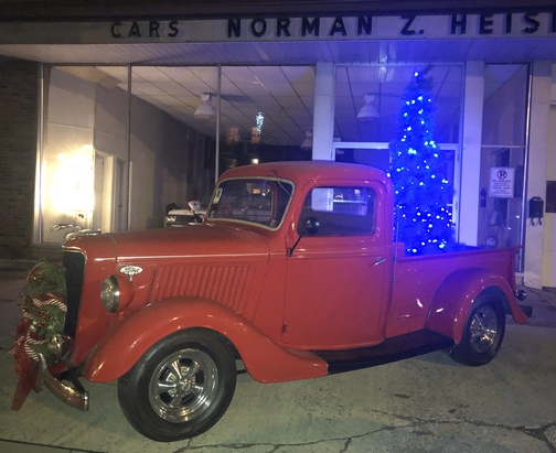 Red Ford pickup 12/22/19