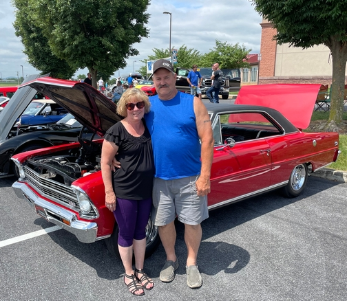 Sharon and Phil with 67 Chevy Nova