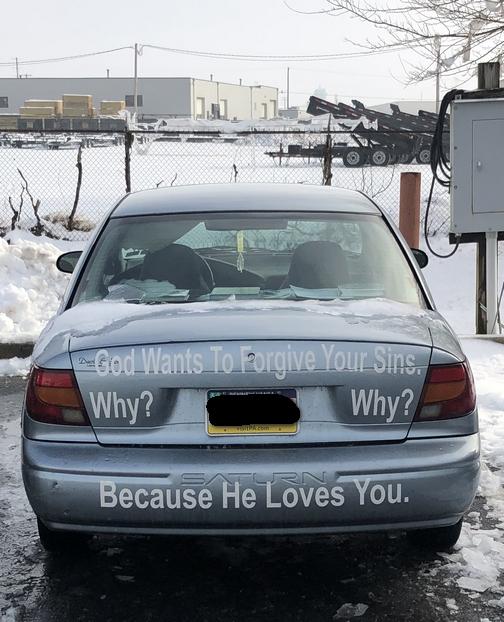 Stencil on car