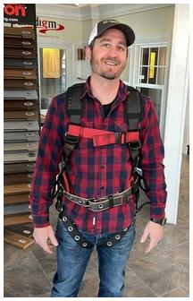 Brandon wearing safety harness