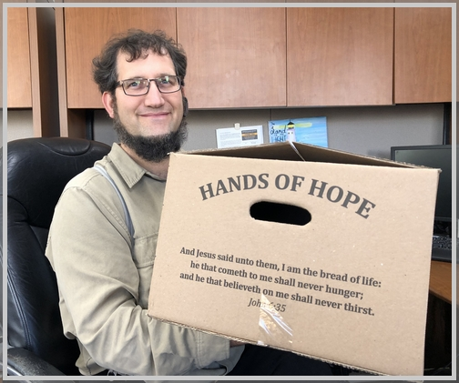 Aaron Fisher with Hands of Hope box 10/25/18